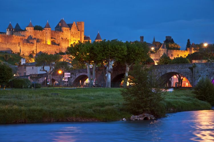France Bridges Fortress Evening Carcassonne Cities wallpaper