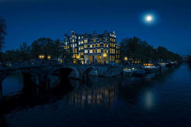 Amsterdam Netherlands Houses Bridges Marinas Canal Moon Night Cities wallpaper