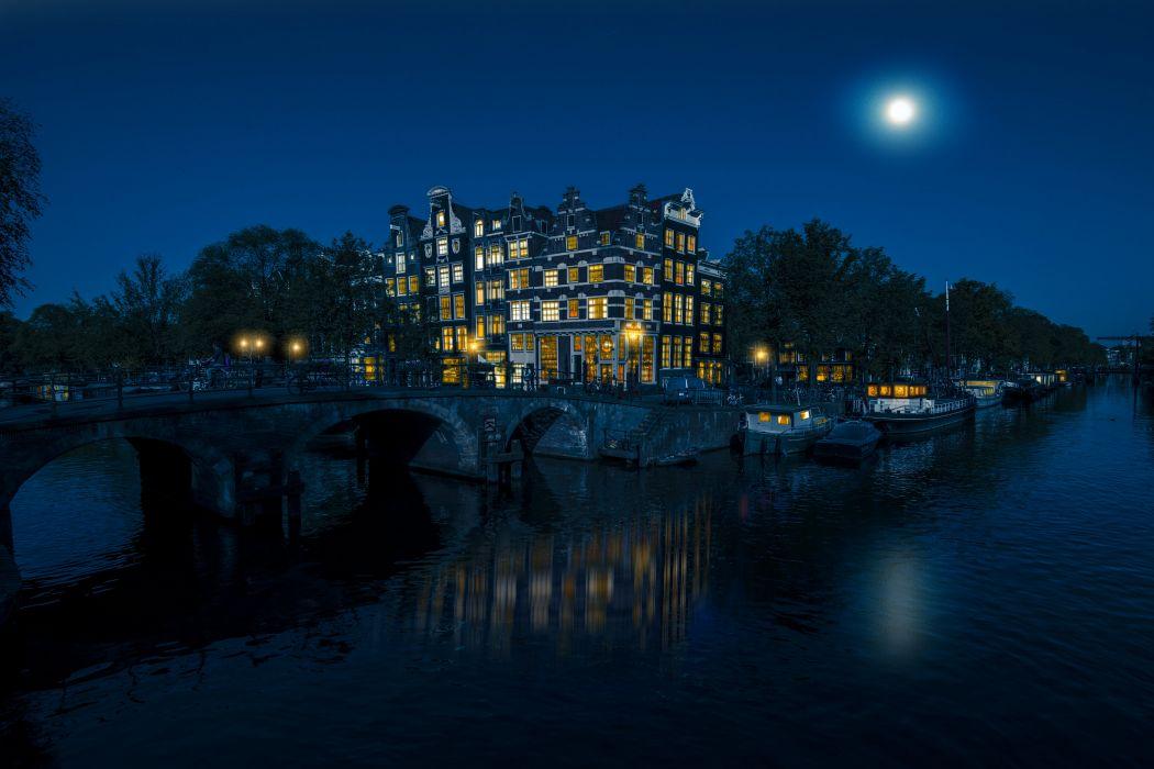 Amsterdam Netherlands Houses Bridges Marinas Canal Moon Night Cities wallpaper