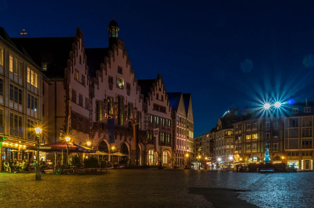 Houses Germany Night Street Frankfurt Cities wallpaper