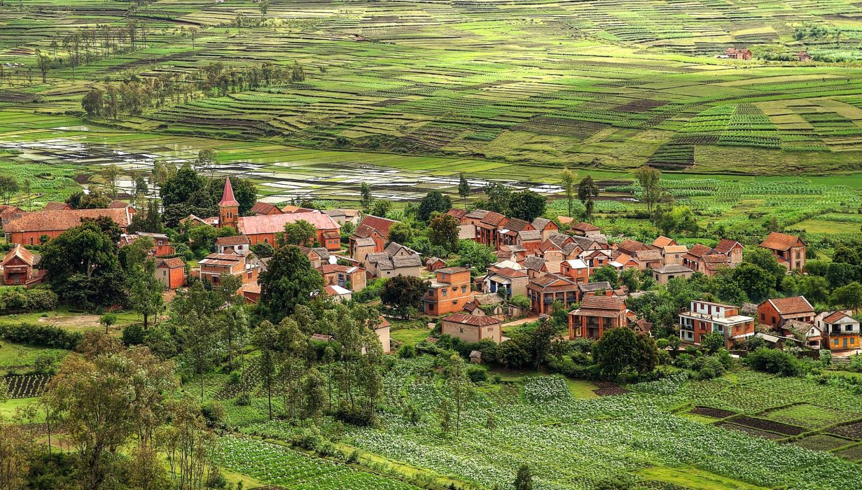 Madagascar Small towns Houses Fields Toliara Cities wallpaper