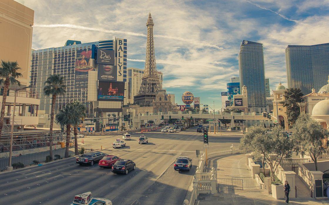 Roads Houses USA Street Eiffel Tower Las Vegas Cities wallpaper