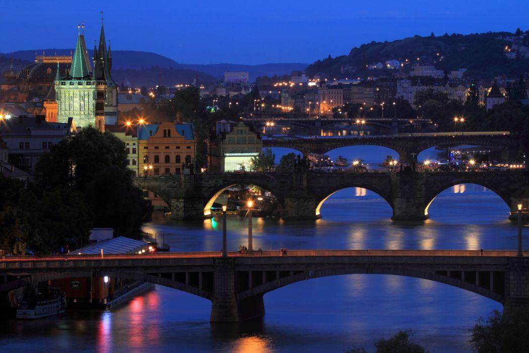 Prague Czech Republic Houses Rivers Bridges Night Street lights Cities wallpaper