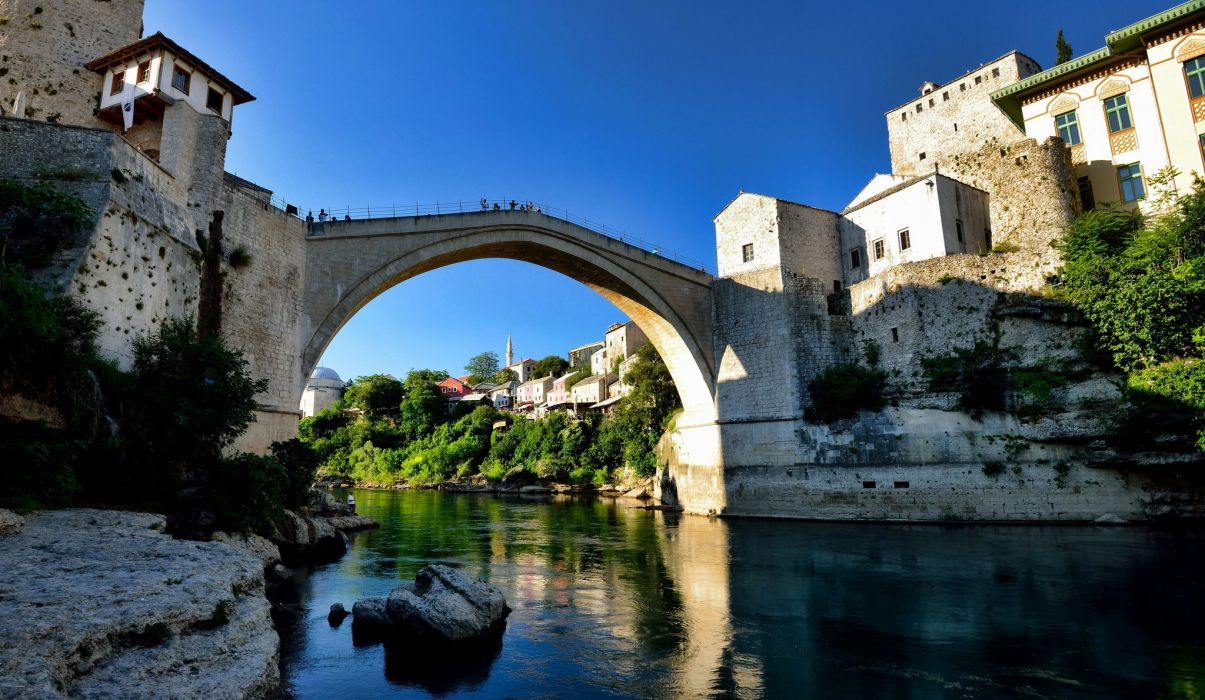 Bridges Houses Rivers Bosnia and Herzegovina Mostar Cities wallpaper