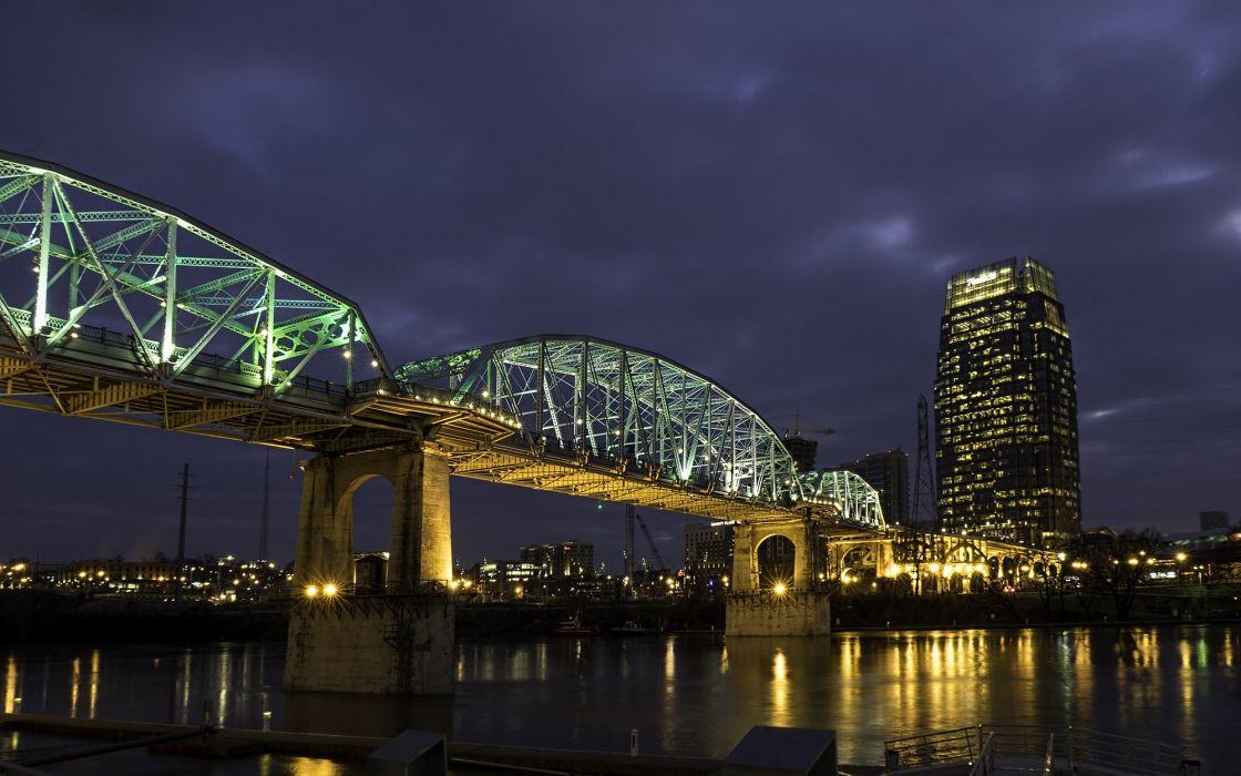 USA Houses Rivers Bridges Night Street lights Nashville Tennessee Cities wallpaper