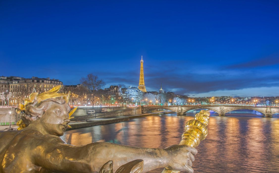 Bridges Sky Sculptures France Rivers Eiffel Tower Night Paris Seine Cities wallpaper