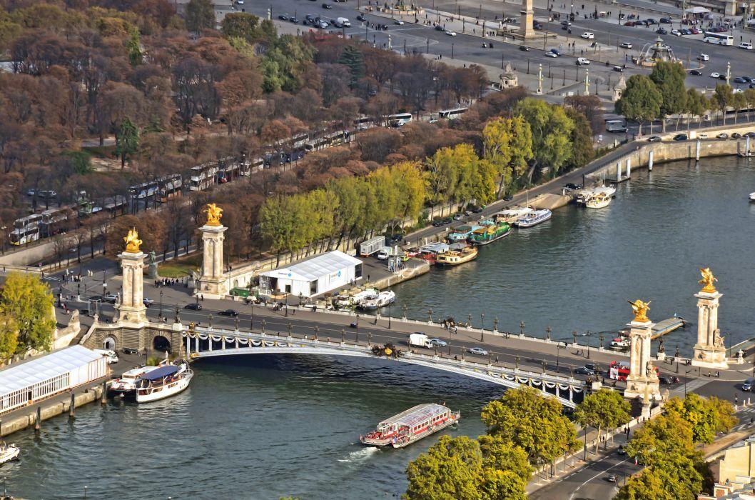 Bridges Rivers France Paris Seine Cities wallpaper