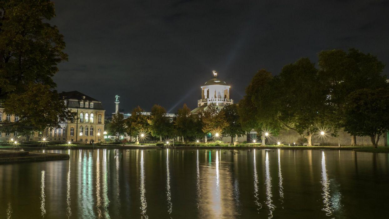 Germany Houses Pond Night Street lights Stuttgart Cities wallpaper