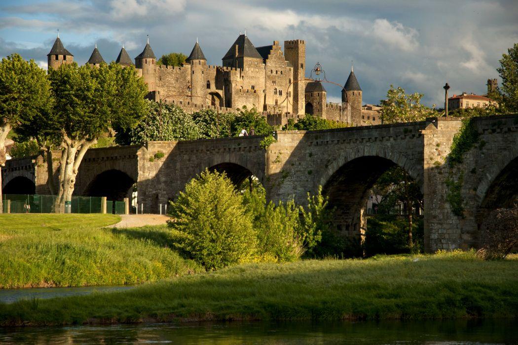 France Fortress Bridges Trees Shrubs Carcassonne Cities wallpaper
