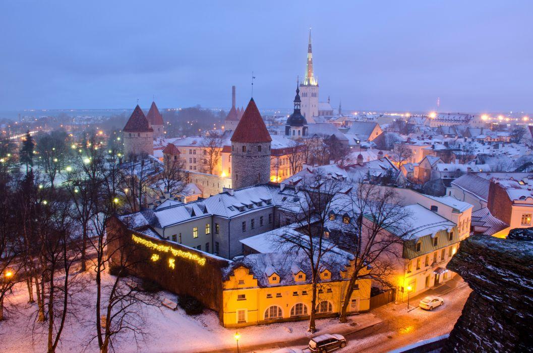 Estonia Houses Winter Evening Snow Street lights Tallinn Cities wallpaper