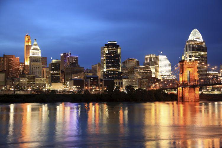 Houses Coast USA Night Ohio Cincinnati Cities wallpaper