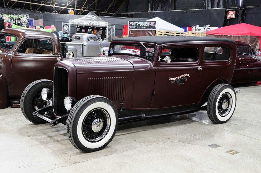 1932 Ford Tudor Sedan Hot Rod Hotrod Custom Kustom Old School USA -01 wallpaper
