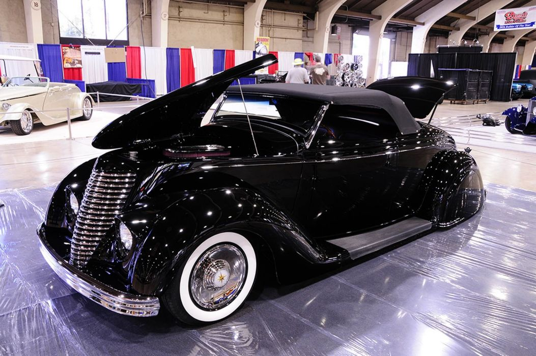 1936 Ford Convertible Custom Kustom Old School Low USA -01 wallpaper