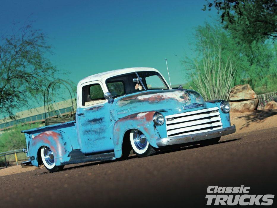 1950 Chevrolet 3100 Pickup Hotrod Hot Rod Custom Kustom Old School USA 1600x1200-01 wallpaper