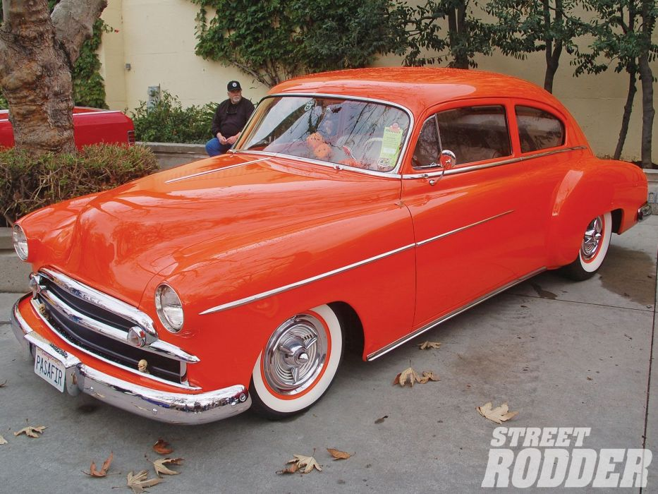 1950 Chevrolet Chevy Fleetline 2 Door Hotrod Hot Rod Custom Old School USA 1600x1200-01 wallpaper