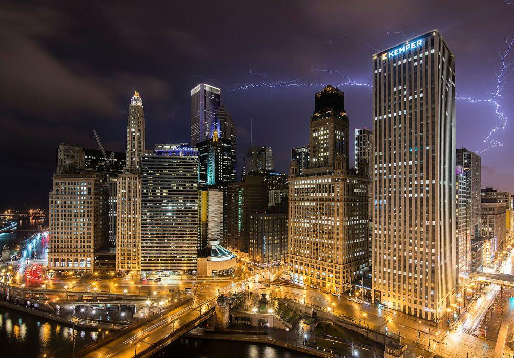 Houses USA Night Lightning Chicago city Cities wallpaper