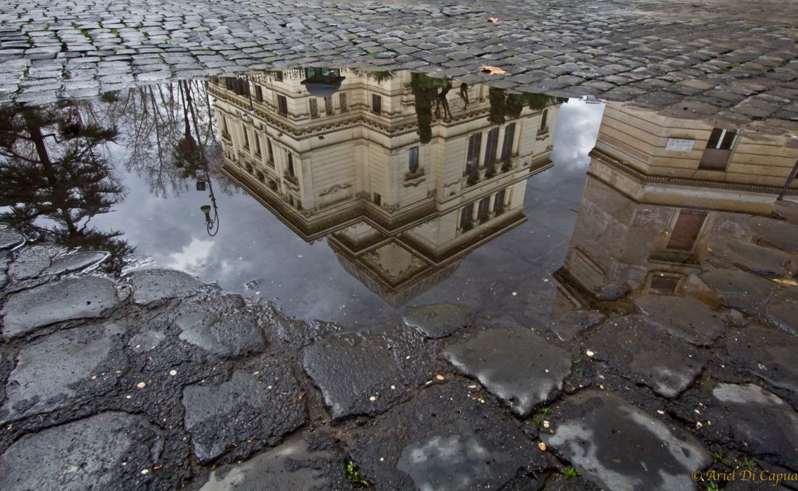 Houses Puddle Cities wallpaper