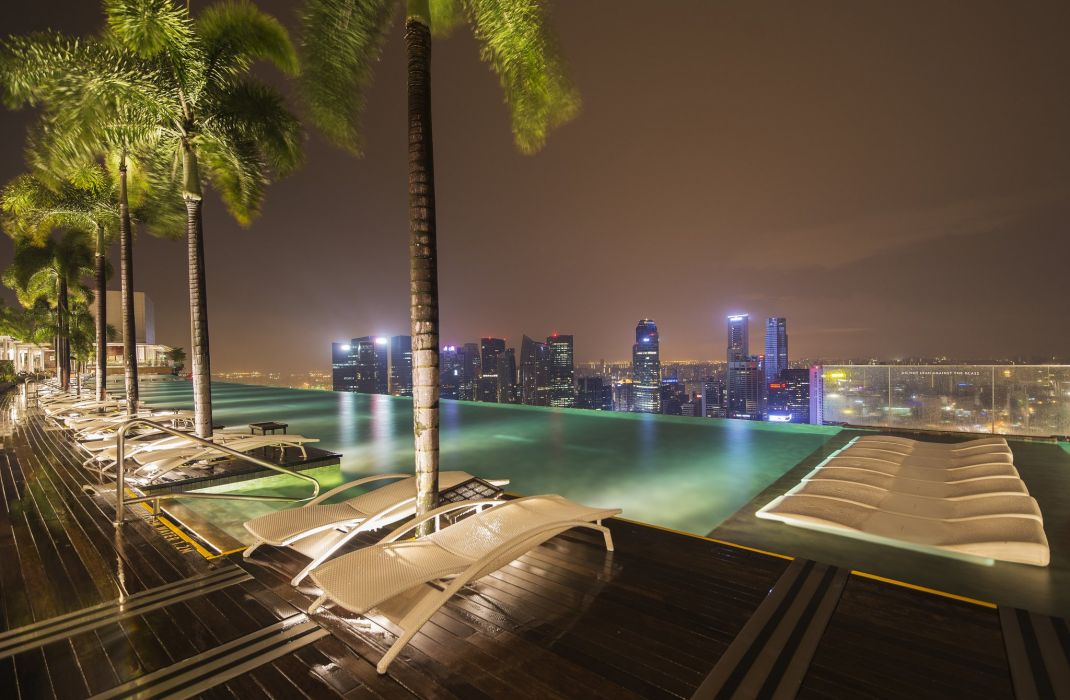 Singapore Sunlounger Night Palma Pools Cities wallpaper