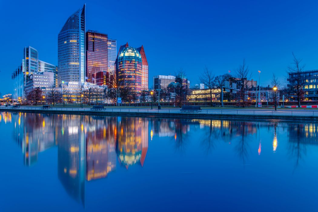Netherlands Houses Rivers Evening Hague Cities wallpaper