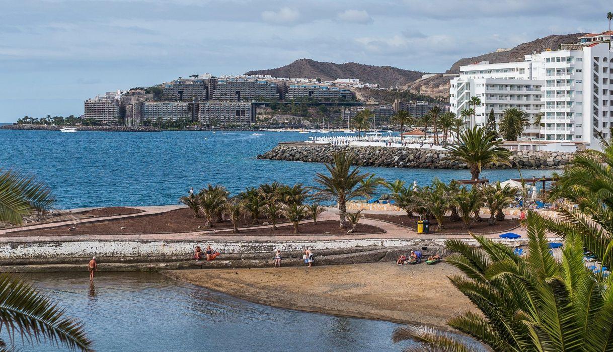 Spain Houses Coast Canary Islands Palma Arguineguin Cities wallpaper