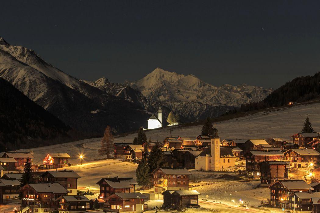 Switzerland Houses Mountains Winter Snow Night Street lights Bergdorf Cities wallpaper
