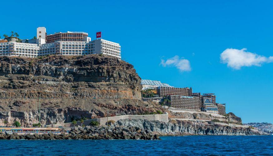 Spain Houses Sea Canary Islands Crag Puerto Rico Gran Canaria Cities wallpaper