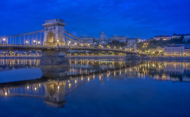 Bridges Rivers Hungary Budapest Night Danube Cities wallpaper