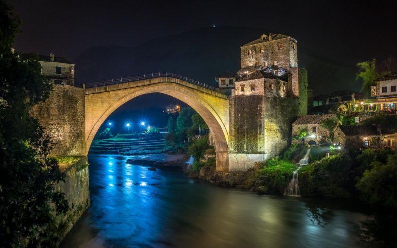Bridges Rivers Bosnia and Herzegovina Night Mostar Cities wallpaper