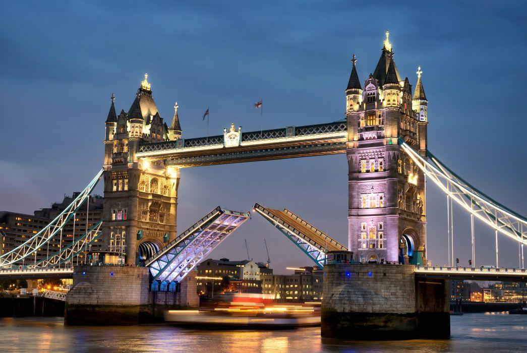 United Kingdom Rivers Bridges London Night Street lights Cities wallpaper