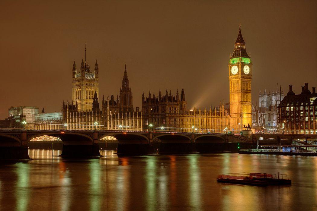 England Bridges Night London Big Ben Cities wallpaper