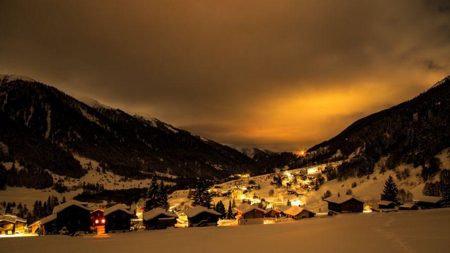 Switzerland Houses Mountains Winter Snow Night Street lights Grafschaft Goms Cities wallpaper