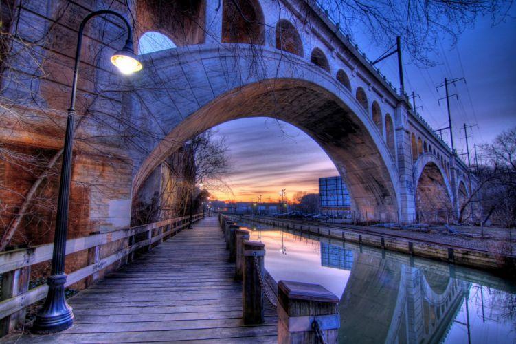 Bridges Rivers Evening USA Street lights Canal manayunk Philadelphia Cities wallpaper