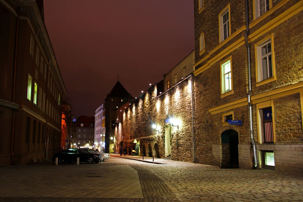 Estonia Houses Street Night Street lights Tallinn Cities wallpaper