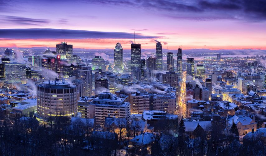 Canada Houses Winter Sky Megapolis Night Montreal Quebec Cities wallpaper