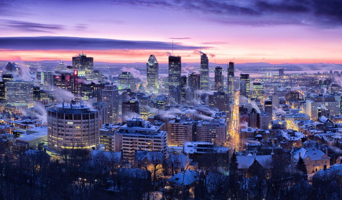 Canada Houses Winter Sky Megapolis Night Montreal Quebec