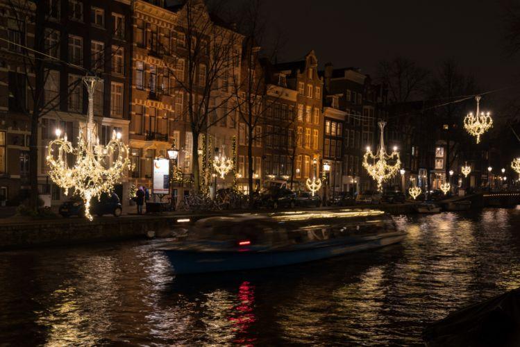 Amsterdam Netherlands Houses Motorboat Street Canal Night Street lights Fairy lights Cities wallpaper