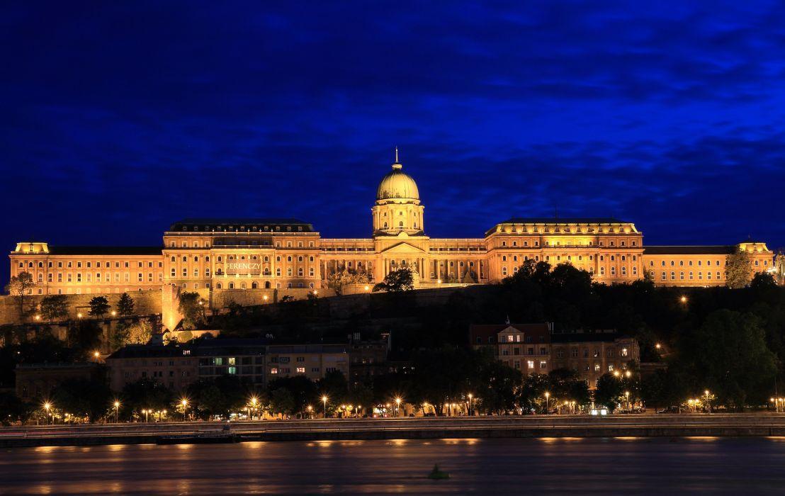 Budapest Hungary Castles Houses Sky Night Street lights Buda Castle Cities wallpaper