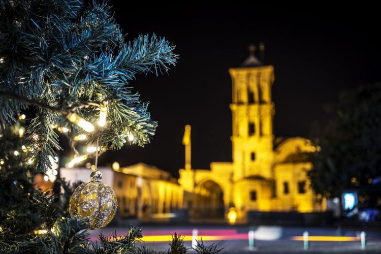 Christmas Cyprus Night Branches Balls arnaca Cities wallpaper