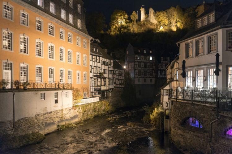 Germany Houses Night Monschau Cities wallpaper