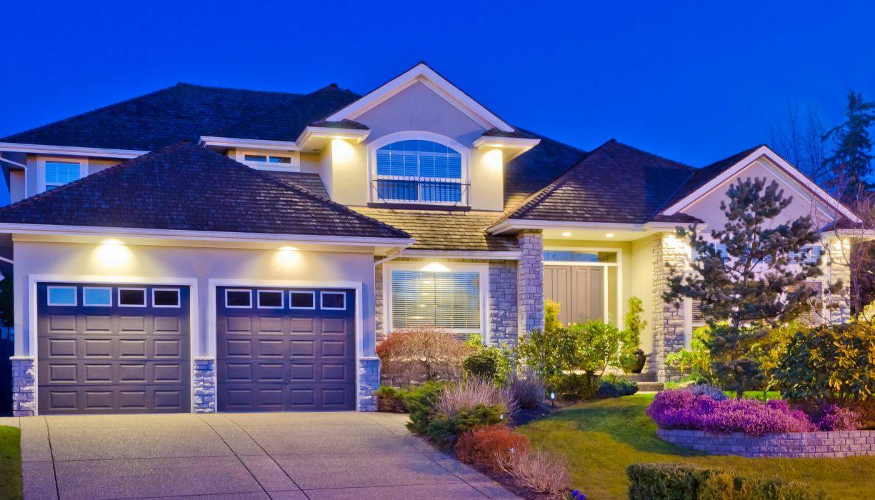 Houses Mansion Design Shrubs Fir Night Street lights Garage Cities wallpaper
