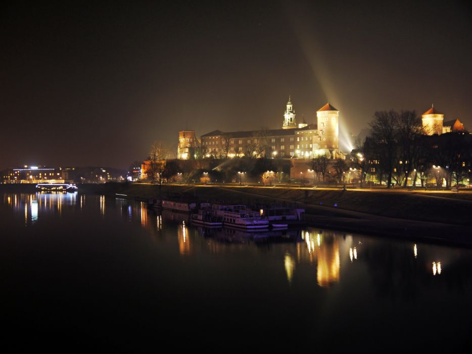 Poland Houses Rivers Marinas Motorboat Night Krakow Cities wallpaper