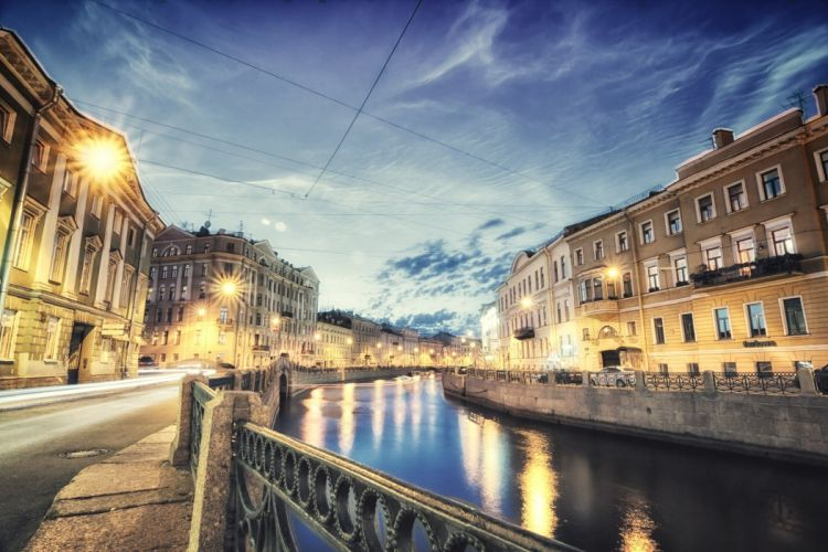 Russia St Petersburg Evening Canal Fence Cities wallpaper