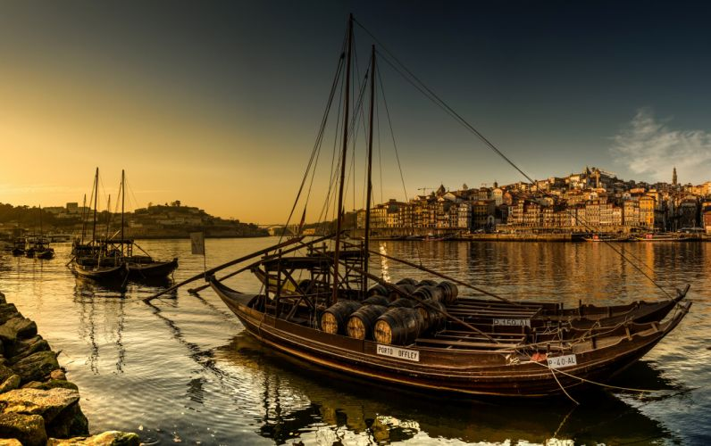 Portugal Houses Rivers Evening Boats Porto Cities wallpaper