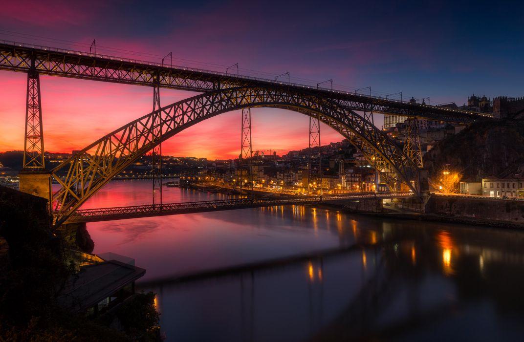 Portugal Houses Rivers Bridges Evening Street lights Porto Cities wallpaper