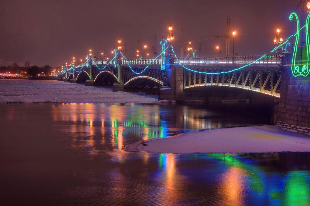 St Petersburg Russia Winter Rivers Bridges Night Street lights Cities wallpaper