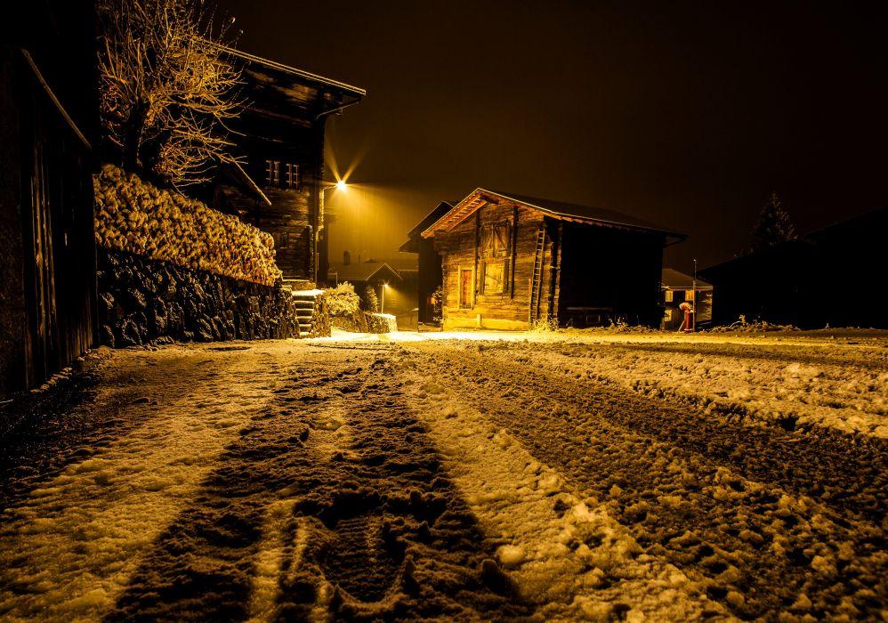 Switzerland Houses Winter Snow Night Street lights Ritzingen Goms Cities wallpaper