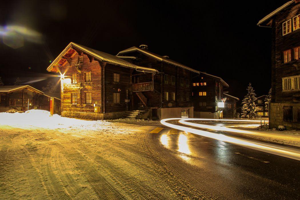 Switzerland Houses Winter Street Night Muenster Goms Cities wallpaper