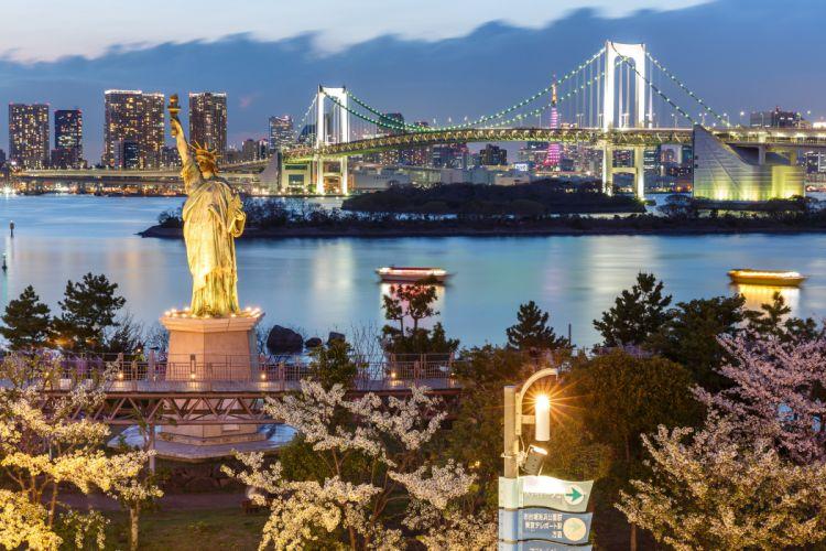 Tokyo Japan Houses Bridges Monuments Evening Statue of Liberty Cities wallpaper