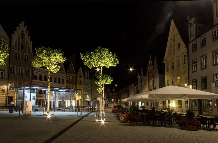 Houses Germany Night Street Trees Cafe Bavaria Landsberg Cities wallpaper