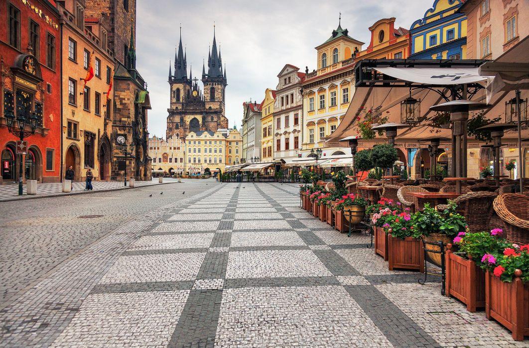 Houses Prague Czech Republic Street Pavement Cities wallpaper